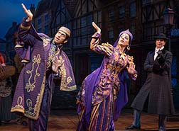 Andy Karl as Neville Landless, Jessie Mueller as Helen Landless, Stephanie J. Block as Edwin Drood, photo Joan Marcus.
