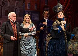 Jim Norton as Willaim Cartright, Betsy Wolfe as actress Deirdre Peregrine and Stephanie J. Block as Alice Nutting, photo Joan Marcus.