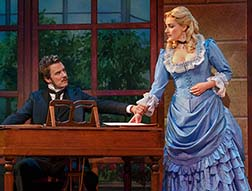 Will Chase as John Jasper, Betsy Wolfe as Rosa Bud, photo Joan Marcus.