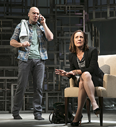 John Schiappa as Richard, Laurie Metcalf as Juliana, photo Joan Marcus.