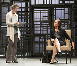Zoe Perry as the doctor, Laurie Metcalf as Juliana, photo Joan Marcus.