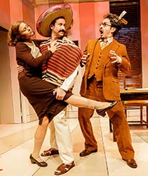 Liv Rooth as Mrs. Trotsky, Eric Clem as Ramon and Matthew Saldivar as Trotsky, photo James Leynse.