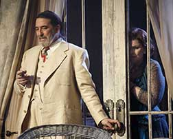 Ciarán Hinds as Big Daddy, Debra Monk as Big Moma, photo Joan Marcus.