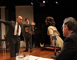 Ned Eisenberg as Fred, Aaron Serotsky as Mickey, Miriam Silverman as Natalie, Michael Cullen as Rep. Walter, photo