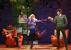 Taylor Trench as Michael, Lesli Margherita as Mrs. Wormwood, Gabriel Ebert as Mr. Wormwood, photo Joan Marcus.