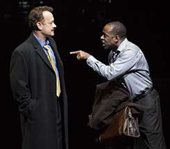 Tom Hanks as Mike McAlary and Courtney B. Vance as Hap Hairston, photo Joan Marcus.