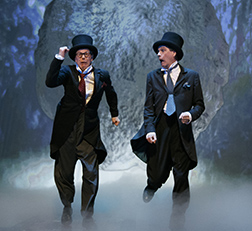 Bill Irwin and David Shiner in the tunnel, photo Joan Marcus.