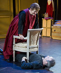 Tina Packer as Juliet and Nigel Gore as Romeo -- imagine the balcony, photo Kevin Sprague.