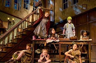 Lilla Crawford as Annie, and the orphans photo Joan Marcus.