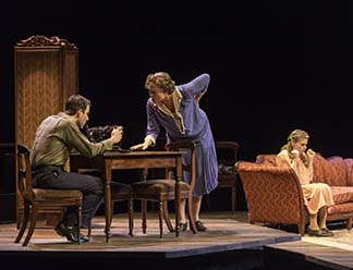 Zachary Quinto as Tom, Cherry Jones as Amanda, and Celia Keenan-Bolger as Laura, photo Michael J. Lutch.