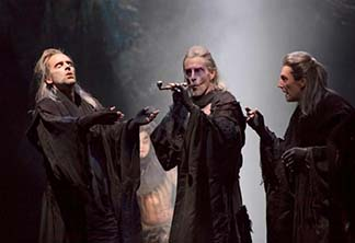 Malcolm Gets, John Glover and Byron Jennings as the Weird Sisters, photo T. Charles Erickson.