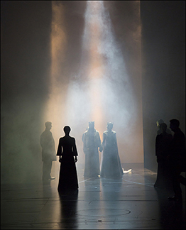 The cast in Japhy Weidman's dramatic lighting, photoT.Charles Erickson,