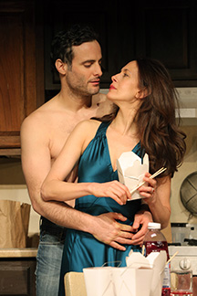 Dominic Fumusa as He and Jessica Hecht as She in Stage Kiss, photo Joan Marcus.