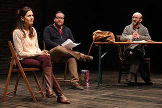 Jessica Hecht as She, Michael Cyril Creighton as Kevin and Patrick Kerr as the Director, photo Joan Marcus.