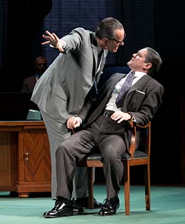 Bryan Cranston as LBJ leaning into Robert Petkoff as Humphrey, photo Evgenia Eliseeva.