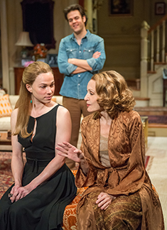 Kristen Bush as Anna Fitzgerald, Michael Simpson as Colin Ferris, Jan Maxwell as his mother Hester,  photo Stephanie Berger.