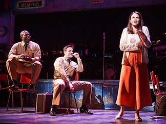 Joshua Henry as Flick, Colin Donnell as Monty, Sutton Foster as Violet, photo Joan Marcus.