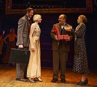 Bill Hecht, as Cliff, Michelle Williams as Sally, Danny Burstein as Herr Shultz, Linda Edmond as Fraulein Schneider, photo Joan Marcus.