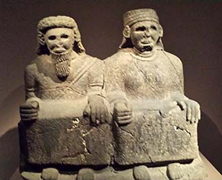 Statue of seated couple, Tell-Halaf, Syro-Hittite early 9th century BC, photo Lucy Komisar.