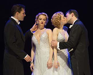 Ryan Silverman asTerry, Emily Padgett as Daisy, Erin Davie as Violet and Matthew Hydzik as Buddy, photo Joan Marcus.