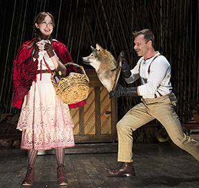 Emily Young as Little Red Ridinghood, Noah Brody as the wolf, photo Joan Marcus.