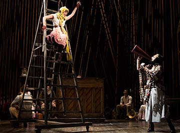 Emily Young as Rapunzel and Jennifer Mudge as the Witch, photo Joan Marcus.
