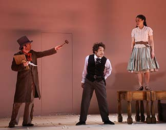 Haynes Thigpen as the Indian, Austin Smith as M'Closky, and Amber Gray as Zoe, photo Gerry Goodstein.