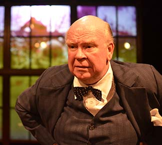 Ronald Keaton as Winston Churchill, Chartwell estate seen through window, photo Jason Epperson.