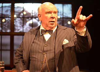 Ronald Keaton as Winston Churchill making a point, photo Jason Epperson.