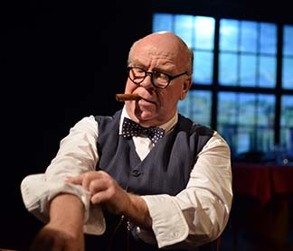 Ronald Keaton as Winston Churchill rolling up sleeves, photo Jason Epperson.