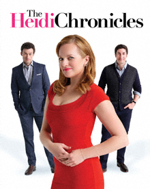 Elizabeth Moss as Heidi flanked by Bryce Pinkham as Peter and Jason Biggs as Scoop, photo Joan Marcus.