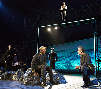 Charles Parnell as King of Naples, Bernard White as Gonzalo and Chris Perfetti as Ariel above, photo Joan Marcus.