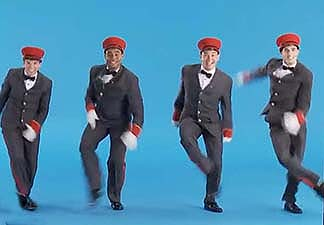 """Dancers sing and tap """"Life is Like a Train"""" in """"On the 20th Century."""""""
