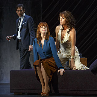 Clive Owen as Deeley, Kelly Reilly as Kate, Eve Best as Anna, photo Joan Marcus.