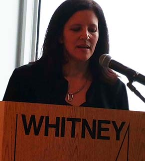 Laura Poitras at the press preview, photo Lucy Komisar.