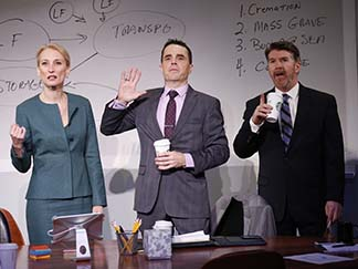 Carrie Paff as Hannah, Mark Anderson Phillips as Brock, and Michael Ray Wisely as Ted, photo Carol Rosegg.