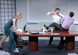 Carrie Paff as Hannah, Michael Ray Wisely as Ted, and Mark Anderson Phillips as Brock, photo Carol Rosegg.