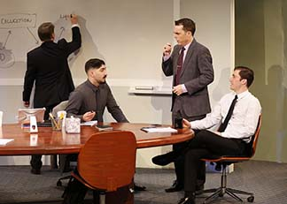 Michael Ray Wisely as Ted, Jason Kapoor as Sandeep, Mark Anderson Phillips as Brock, and Ben Euphrat as Scooter, photo Carol Rosegg.