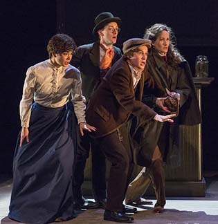 Kirsten Foster as Violet Hunter, Peter Groom as Watson, Michael Rivers as the bar keeper, Jackie Schram as Sherlock Holmes, photo Richard Termine.