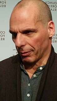 Yanis Varoufakis talks to journalists, photo Lucy Komisar.
