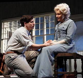 John Gallagher, Jr. as Edmund, Jessica Lange as Mary, photo Joan Marcus.