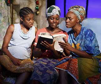 Pascale Armand as Wife #3, Lupita Nyong'o as the Girl, and Saycon Sengbloh as Wife #1, photo Joan Marcus.