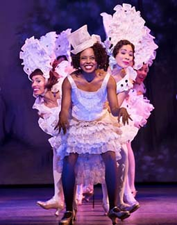 """Adrienne Warren as Gertrude Saunders and the company doing """"I'm Just Wild About Harry,"""" photo Julieta Cervantes."""