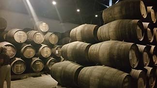Casks in the cave.